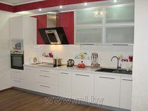 Качественная и недорогая кухня под заказ в Минске с фасадом из белого глянцевого пластика