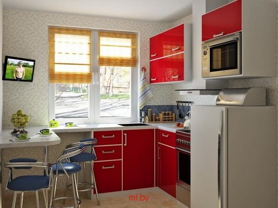 Дизайн кухни под окном 9 кв.м