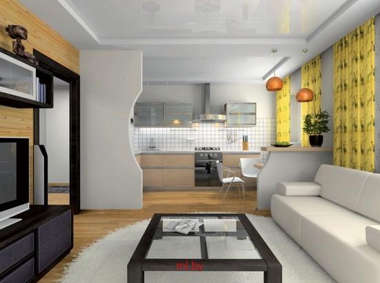 Дизайн совмещенная кухня с гостиной