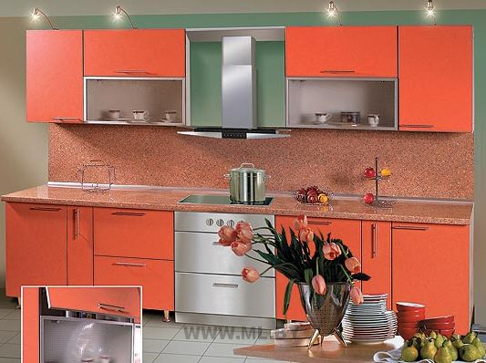 Столешница оранжевая 80 на 80 мойка из камня Соколова Пустынь